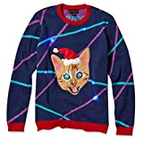 Blizzard Bay Men's Light up Lazer Kitty Ugly Christmas Sweater, Navy/Red, XX-Large