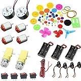 YM-teach Kit pour projet de bricolage: moteurs CC, engrenages, hélices, boîtiers de batterie AA, câbles, interrupteur marche/arrêt, clip de batterie 9 V