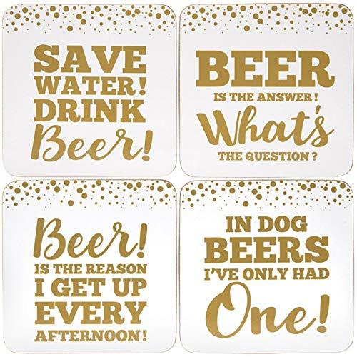 Gold Edition Bier Slogan Untersetzer–Set von 4