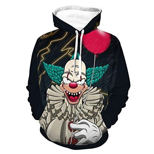 Kru-sty The Clo-wn Novelty Hoodies, Breathable Couple Hoodie Hooded Sweatshirt Pullover Hoody for Women Men