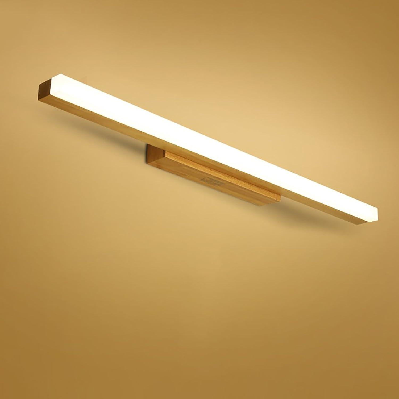 QWM-Badspiegellampe Moderne Holz Led Spiegel Lichter Lampe Warm Weißlight 40cm 7W, 60cm 11W, 80cm 14W QWM-Bad Wandleuchten ( gre   80cm 14W )