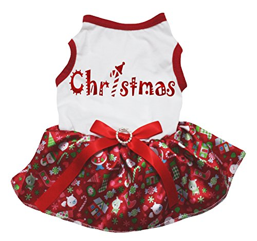 Petitebelle Bling Kerst Wit Shirt Rode Sneeuwman Tutu Puppy Hond Jurk, XXX-Large, Kleur: wit