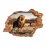 nikima - 103 Wandtattoo Löwe Savanne - Loch in der Wand - in 6 Größen - wunderschöne Kinderzimmer Sticker und Aufkleber Coole Wanddeko Wandbild Junge Mädchen Größe 1000 x 700 mm