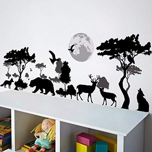 LGDB Muursticker 3D Cartoon dier herten vogel wolf bos dierentuin boom bloemen muur stickers home decor voor slaapkamer woonkamer kinderen kamer Art poster