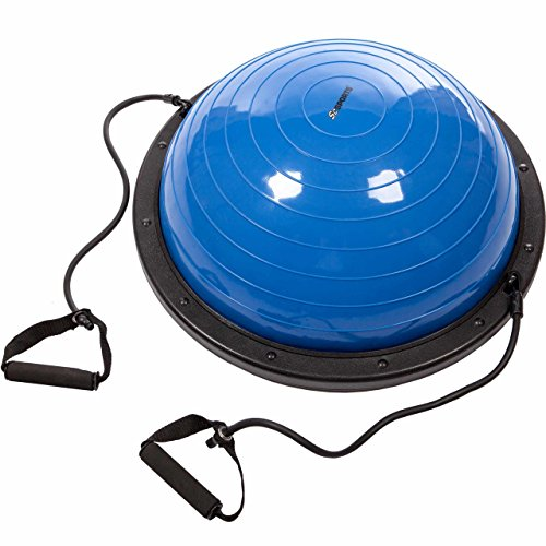 ScSPORTS® Balance Ball mit Zugbändern, Vorder- und Rückseite nutzbar, 60 cm x 24cm, inkl. Pumpe