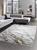 CARPETIA Alfombra salón Alfombra de mármol Crema Gris Dorado Größe 160x230 cm