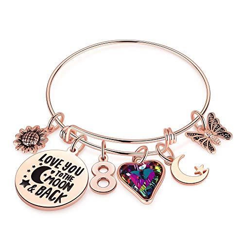 Ursteel 8th Birthday Bracelet Gifts for Girls, Eight 8 Year Old Girls Gifts Birthday Charm Bracelet Little Girls Kids Toddler Daughter Granddaughter Girls Birthday Gifts Age 8 Happy 8th Birthday