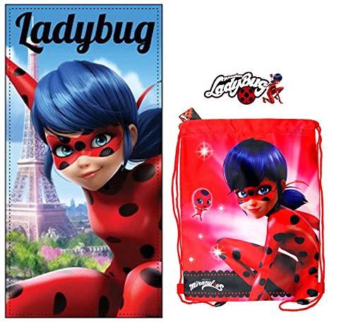Ladybug Miraculous toalla de playa + bolsa de playa Ladybug