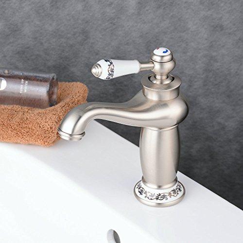 Beelee Elegant gebürstetes Nickel Wasserhahn bad Waschtisch Waschbecken Armatur Einhebelmischer Mischbatterie Waschtischarmatur Waschbeckenarmatur Badarmatur für Badezimmer