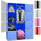 Kesser DIY Kleiderschrank Schrank Steckregal  Schuhschrank  Regalsystem  Garderobe | Belastbar | Größe: 12 Boxen / 600 Liter | Farbe: Blau