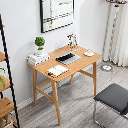 "Nnewvante Writing Computer Desk 31.5"" Bamboo Home Office Table with Large Drawer, Modern Furniture Simple Study Makeup Workstation"