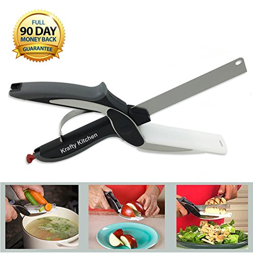 Clever Cutter 2 en 1 couteau Ciseaux et planche à découper à partir de Krafty de cuisine – rend la Meal Prep Plus rapide, Plus facile et moins Encombrants – Nourriture et légumes hachoir – Couteau de cuisine en acier inoxydable – Garantie de 90 jours