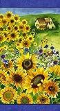 Stoffpaneel mit Sonnenblumen, 60 x 110 cm, 100 % Baumwolle
