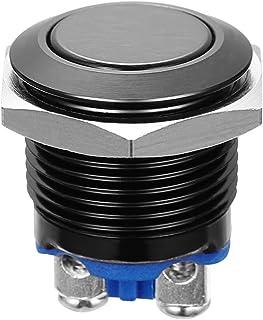 WINOMO 16mm Druckschalter Schalter Druckknopf Ein Ausschalter Drucktaster für Auto KFZ (schwarz)