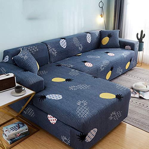 Funda Elástica de Sofá Chaise Longue Estampada Antideslizante,Funda Estampada para sofá Antideslizante Cubierta de Muebles Funda Protectora para Sofá en Forma de L 2 Piezas-D||3seater+4seater