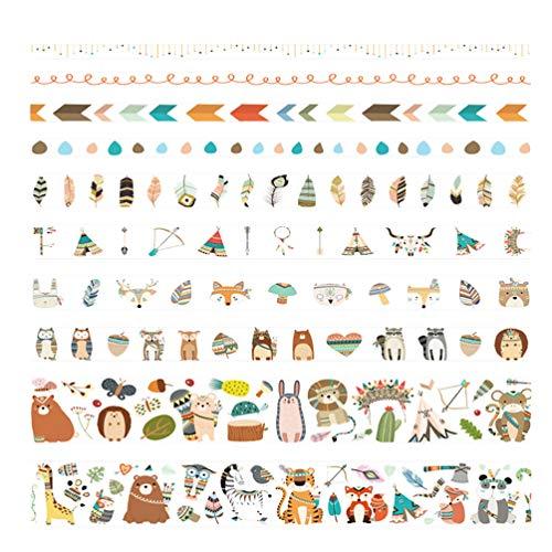 NUOBESTY Nastro Adesivo Decorativo Washi Decorativo Nastro da Collezione Nastro di Carta Simpatico Nastro da Regalo per Decorazione Album Fai da Te Confezione da 10 Rotoli (Zoo)