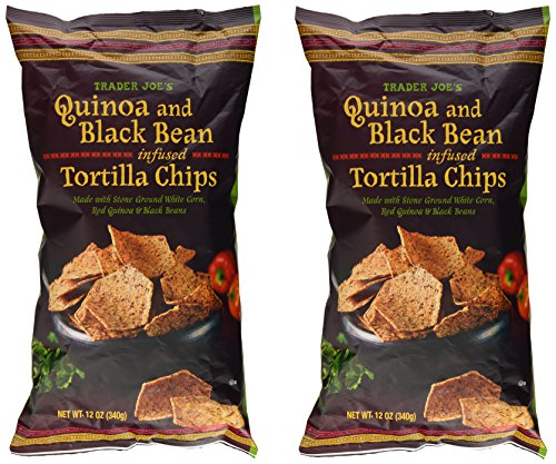 Trader Joe's Quinoa & Black Bean Infused Tortilla Chips Made with Stone Ground White Corn, Red Quinoa & Black Beans - 12 Oz. (Pack of 2 -Total of 24 Oz.)