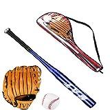 Yangzhilan Bate de béisbol de aluminio/madera, juego de béisbol, bate de béisbol+guante de béisbol,bate de béisbol de autodefensa actividad al aire libre juvenil (azul)
