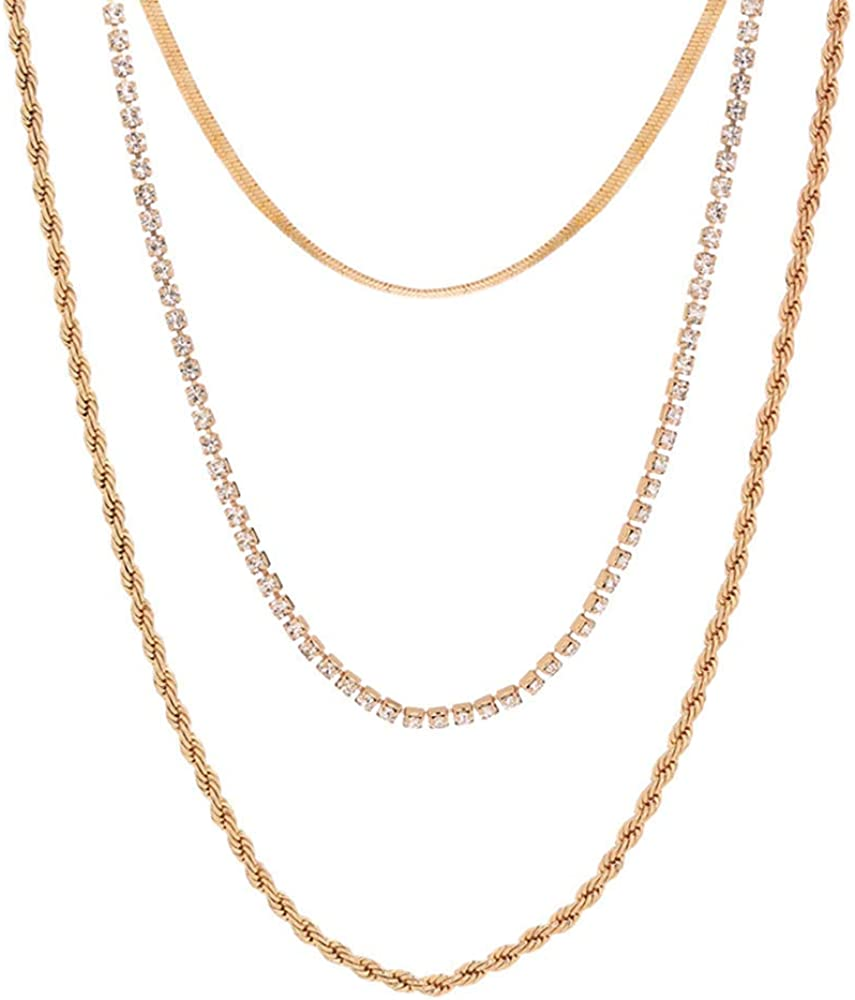 Ptoliin Thick Don't miss the campaign Lattice Chain shop Necklace-Multi-layered Metal Choker