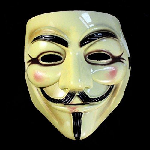 MinusK per l'arredamento di Halloween Maschera Gialla Mascherata Fawkes Fancy Dress Party per 'V for Vendetta' Appassionati di Film
