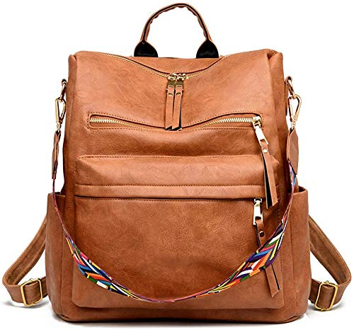 Women Backpack Purse Fashion Travel Bag Multipurpose Designer Handbag Ladies Satchel PU Leather Shoulder Bags (Leopard Grey)