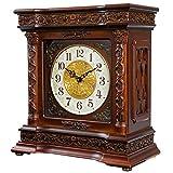 Reloj de la Chimenea carillón del Reloj de Tabla con Pilas for no Hacer tictac del Escritorio Reloj de pie silenciosa Sala de Estar Dormitorio Decorativo de Madera Cuadrado