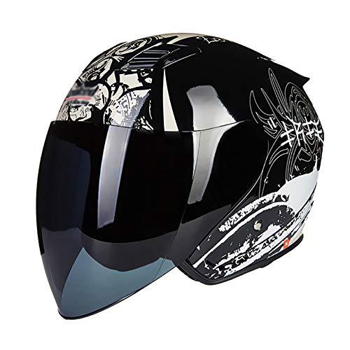 QHF Casco de Cara Abierta 3/4 Cascos de Motocicleta Equipo de protección para la Cabeza 100% Aprobado por Dot Fuerte y Resistente para patineta de Patinaje en línea en casa