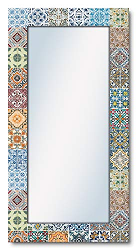 Artland Ganzkörperspiegel Holzrahmen zum Aufhängen Wandspiegel 60x120 cm Design Spiegel Mosaik Toskana Mediterran Keramikfliesen Bunt T9OM
