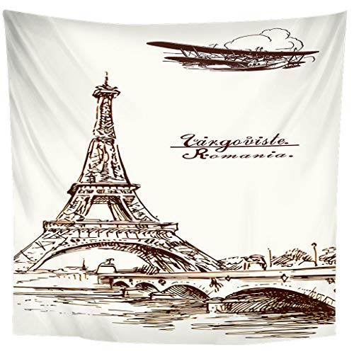 JMHomeDecor Tapestry 3D Printing Creative Hand Drawn Eiffel Tower Light Weight Portable Bed Cover Multi-Function Throw Wall Hanging 240(H) X260(W) Cm