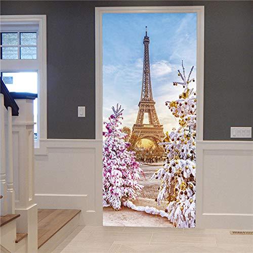 YSJHPC 3D-Türaufkleber-Tür-Wand-Papier-Wandbild, Schöne Landschaft Des Kiefer Turmgebäudes 90*200CM PVC-wasserdichte selbstklebende -Tür-Wand-Tapete-Kunst-dekorative Wand-Abziehbilder für für heim sch