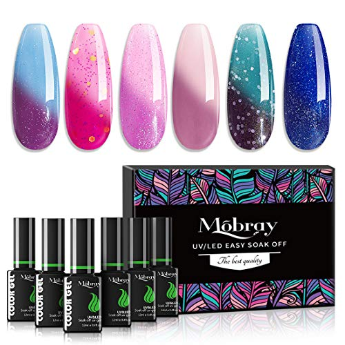 Mobray Color Changing Gel Nail Polish Temperature Change Color 6 Colors Mood Soak Off UV LED Glitter Gel Nail Polish Set 12ml Nail Art Gift Box (Set 1)