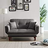 Convertible Futon Sofa Bed with 2 Pillows, Twin Size Sleeper Sofa Futon Couch, Recliner Couch with Adjustable Armrest and Wood Legs, Living Room Sofa with 5-Angle Backrest for Small Space (Grey)