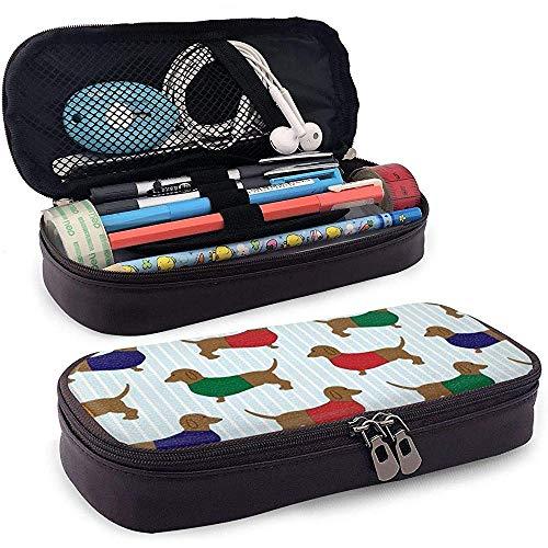 Hond in rode, groene en blauwe jurk lederen etui zak met ritssluiting Pen Box School, grote capaciteit briefpapier doos voor meisjes jongens
