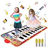 WOSTOO Tappetino Musicale , Tappeto per Pianoforte con 10 Tasti 8 Strumenti, Tappetini da Ballo per Bambini Giocattoli Educativi, Giocattoli Musicali per Ragazze Regalo 1 a 6 Anni ,140 X71 cm