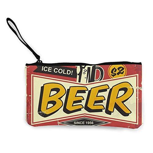 BHGYT Cerveza Vintage Cartel de Chapa Personalidad de Mujer y niña Moda Retro Pequeño Mini Monedero con Cremallera Cuadrada Monedero, Bolsa con Correa para la muñeca Bolsa de Maquillaje Teléfono móv