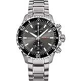 Rüschenbeck The Watch Automatik Herrenuhr R5CHRONO Taucheruhr 316L Edelstahl 44 mm Saphirglas Edelstahlarmband Wasserdicht 500 m grau/Silber R5-S-MB-K01-61-I-SLN2
