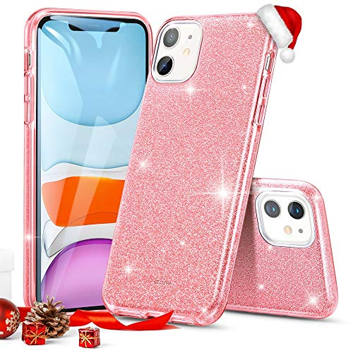 "ESR Glitter Case Compatible for iPhone 11 Case, Glitter Sparkle Bling Case [Three Layer] for Women [Supports Wireless Charging] for iPhone 11 6.1"" (2019), Rose Gold"