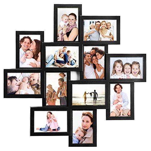 JERRY & MAGGIE - Marco de fotos cuadrado de 24 x 24 cm, diseño de ojo de tormenta negro de PVC para selfies y collage para colgar en la pared de 15 x 10 cm