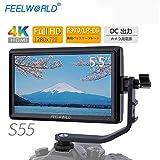カメラ撮影モニター FEELWORLD S55 液晶フィールドモニター 一眼レフカメラ撮影確認 5.5インチIPS 超薄型 1920x1080 HDオンカメラビデオモニター 4K HDMI信号入力【正規品&日本語設定】