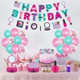 Spa Party Decorations Set,Spa Party Balloons,Make Up Happy Birthday Banner,Spa Make…