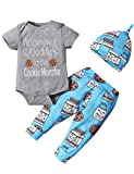 Dramiposs Baby Boy Clothes Baby Coming Home Outfit Boy Cute Bodysuit (Gray-Cookie Monster,0-3 Months)