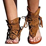 Mujer Punta Abierta Sandals Romano Tiras Gladiador Sandalias Botas Sexis de Verano con Punta de Clip Zapatillas de Playa
