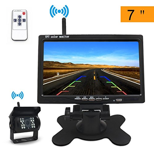 Directtyteam - Telecamera di retromarcia senza fili per auto, 7 pollici, TFT LCD, schermo 18 LED (7')