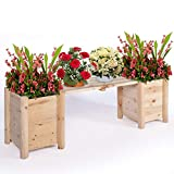 OKL Wood Planter Box Bench Stand Rasied Garden Bed, Patio, Planter Kit Box for Outdoor Grass,Lawn,Patio,Backyard,Porch,Natural(58x15x19In)