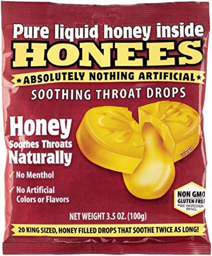 Honees Original Honey Soothing Throat Cough Drops, 20 Count Bag (12 Pack)