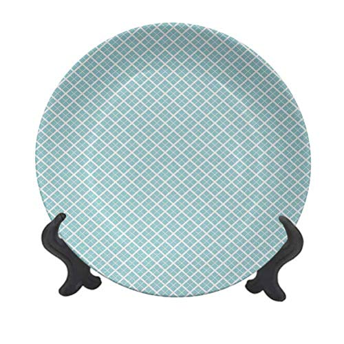 SfeatrutMAT 10' Aqua Dinner Plate,Ocean Themed Pattern Swirled Waves Seascape in Oviform Maritime Surfing Design Ceramic Tableware Plate for Dining Table Tabletop Home Decor Pale Blue White