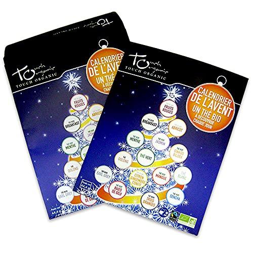 TOUCH ORGANIC | Calendrier de l'avent thé bio | 24 sachets | Certifié biologique et commerce équitable | Une idée cadeau originale avec des produits sains à découvrir avant les fêtes à prix tout doux !