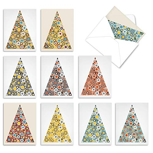 The Best Card Company - 10 Boxed Holiday Cards for Christmas - Fun Assorted Notecard Set, Bulk Variety Pack (4 x 5.12 Inch) - Ornamentals M5014