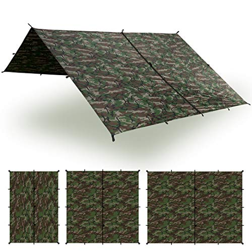 Aqua Quest Safari Tarp - 100% Waterproof Lightweight Sil Nylon Bushcraft Camping Shelter - 3x2 Camo