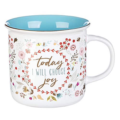 Today I Will Choose Joy Positive Message Encouraging Cute Mug for Women Floral Design Blue/White Ceramic Cup for Coffee/Tea, Metallic Gold Accent, 12oz